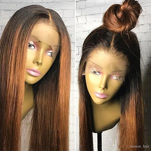 REAL-BRAZILIAN-(130%-DENSITY)OMBRE-BLACK-STRAIGHT-FULL-LACE-HUMAN-HAIR-WIG