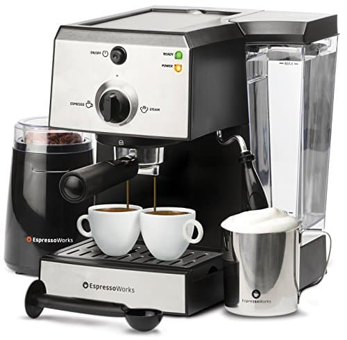 7 Pc All-In-One Espresso Machine & Cappuccino Maker Barista Bundle Set w/Built-In Steamer & Frother