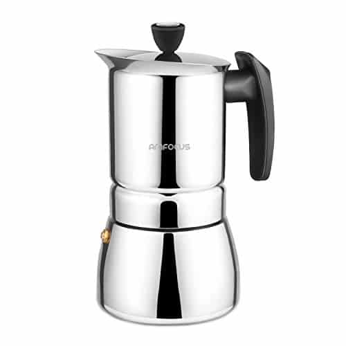 Stovetop Espresso Maker – Moka 6 Cup Espresso Shot-Stainless Steel AMFOCUS