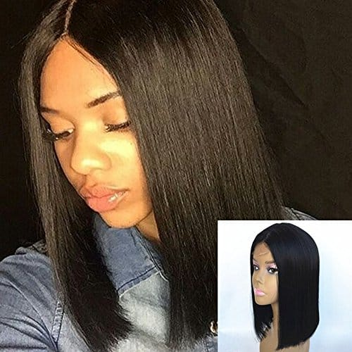 JYL Hair Brazilian Virgin Straight Shoulder Length Short Bob Wigs with Middle Part- Remy Glueless Wig