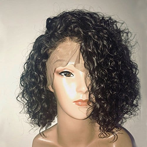 150% Density Curly Lace Front Human Hair Wigs With Baby Hair- Pre Plucked 13X6 Short Human Hair Brazilian Bob Wig