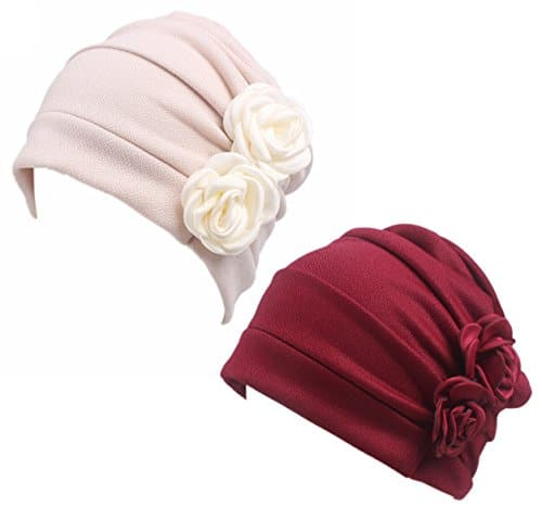 Honenna Ruffle Chemo Turban Headband Scarf Beanie Cap Hat for Cancer Patient