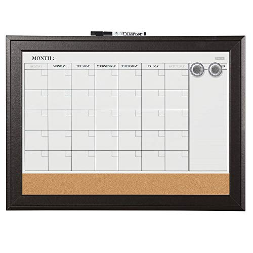 Quartet Combination Magnetic Whiteboard Calendar & Corkboard