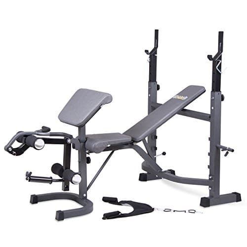 Body Champ Olympic Weight Bench with Preacher Curl, Leg Developer, and Crunch Handle