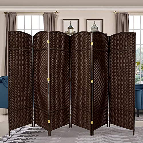RHF 6 ft. Tall-Extra Wide-Diamond Weave Fiber Room Divider, Double Hinged, 6 Panel Room Divider/Screen