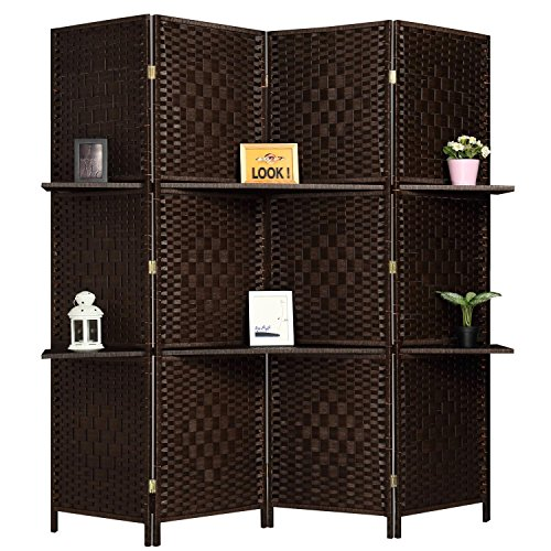 RHF 6 ft Tall (Extra Wide) Diamond Room Divider, Wall divider, Room dividers and folding privacy screens, Partition Wall, With 2 Display Shelves.