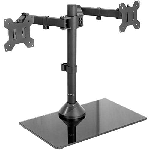 VIVO Freestanding Dual Monitor Stand Adjustable Arm Mount with Black Glass Base For Screens up to 27'