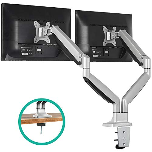 EleTab Dual Monitor Mount Stand Full Motion Swivel Gas Spring LCD Arm Fits for 2 Computer Screens 13 to 32 inches
