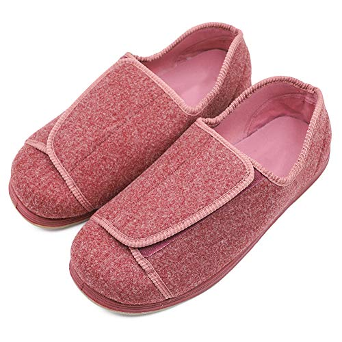 Women's Extra Wide Diabetic Shoes, Adjustable Closures Elderly Women Slippers Fit for Edema Orthopaedic Fasciitis