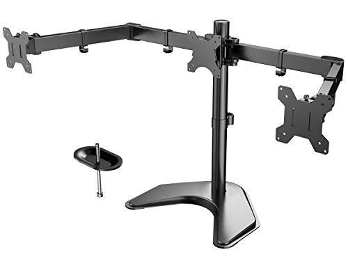 HUANUO Triple Monitor Stand - Free Standing Fully Adjustable Monitor Desk Mount - Tilts, Swivels, Rotates