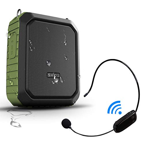 SHIDU Portable Bluetooth Waterproof Vocal Amplifier with Wireless Headset Microphone