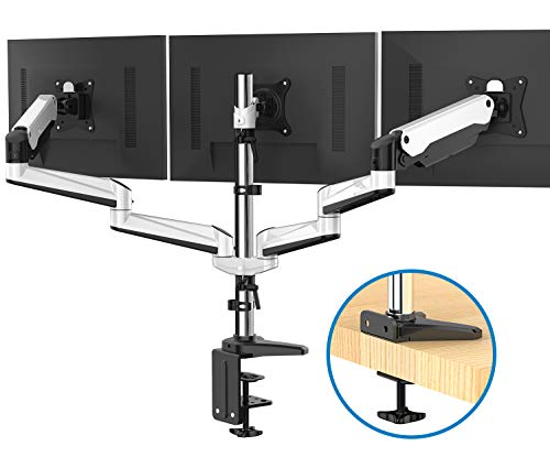 Triple Monitor Stand - Full Motion Articulating Aluminum Gas Spring Monitor Mount Fit Three LCD screens