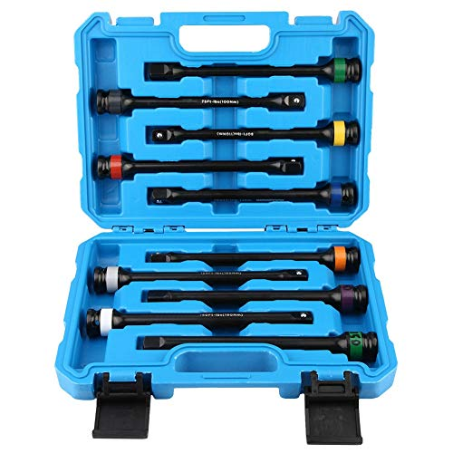 100 ft//lb CR-MO with Blue Color-Coded Aluminum Ring ABN 1//2in Drive 8in Long Torque Socket Extension Bar
