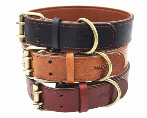 Moonpet Soft Padded Real Genuine Leather Dog Collar